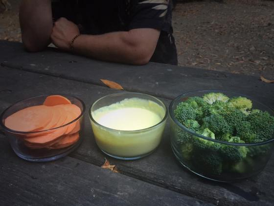 Yams, homemade aioli, and broccoli. Aioli- olive oil, egg yolk, elephant garlic, mustard, and